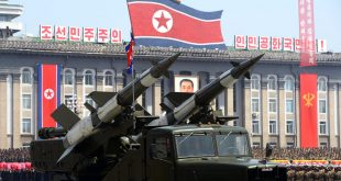 Missiles are displayed during a military parade to mark 100 years since the birth of the country's founder Kim Il-Sung in Pyongyang on April 15, 2012. The commemorations came just two days after a satellite launch timed to mark the centenary fizzled out embarrassingly when the rocket apparently exploded within minutes of blastoff and plunged into the sea.    AFP PHOTO / PEDRO UGARTE (Photo credit should read PEDRO UGARTE/AFP/Getty Images)