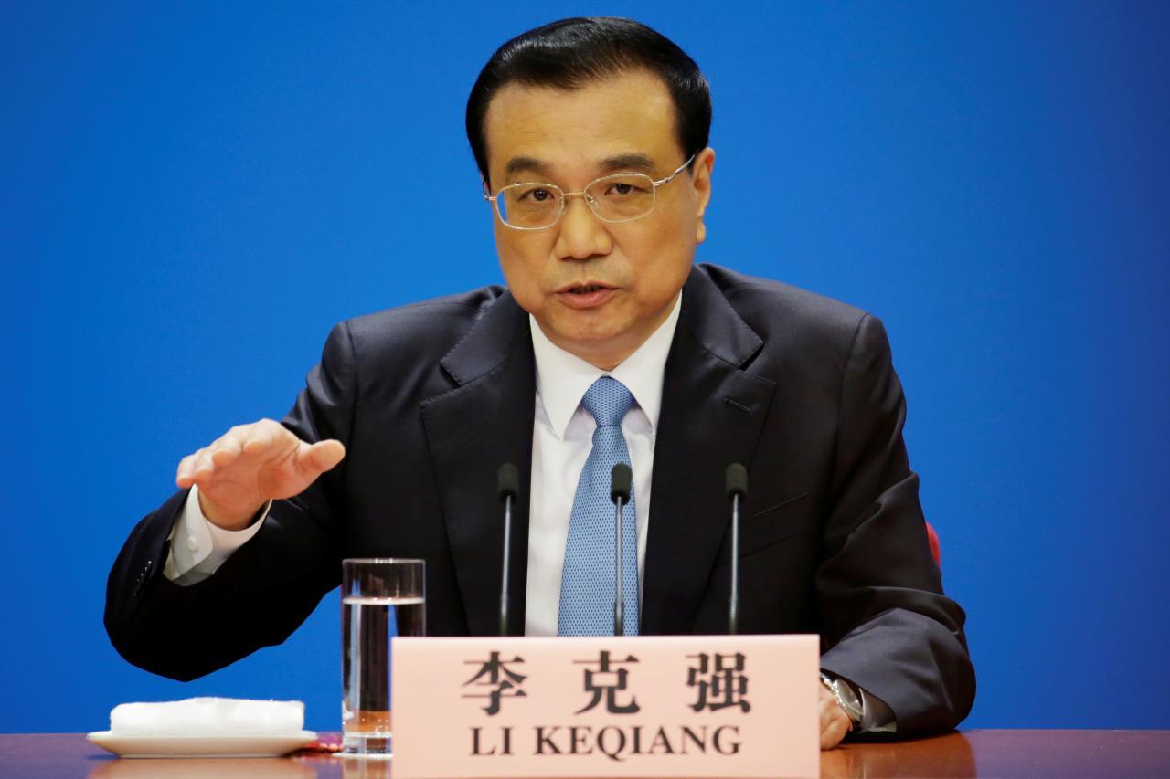 2018年3月20日,中国北京,中国国务院总理李克强在全国人大结束后的记者会上讲话。REUTERS/Jason Lee