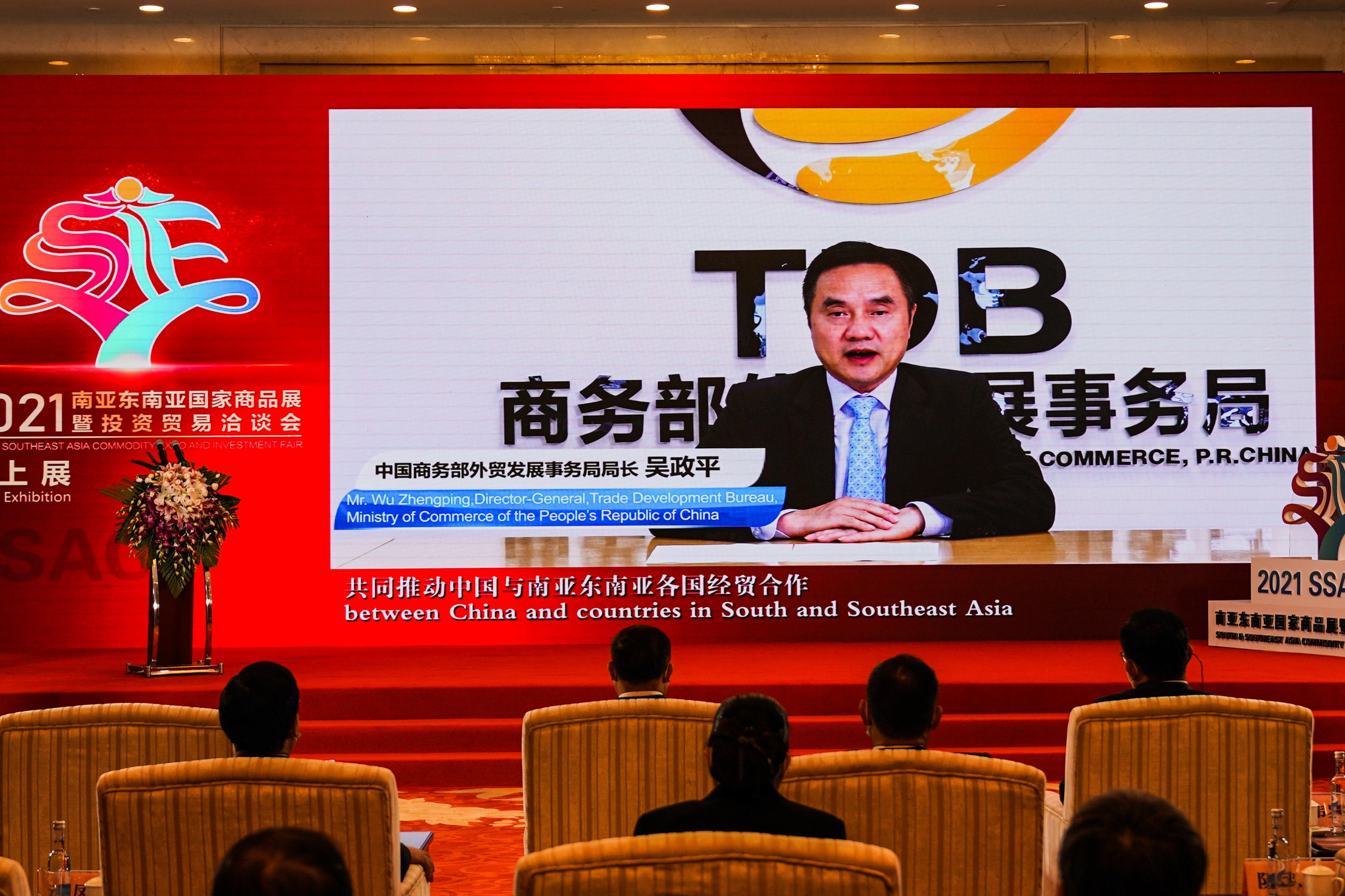 图为中国商务部外贸发展事务局局长吴政平在开幕式上视频连线致辞